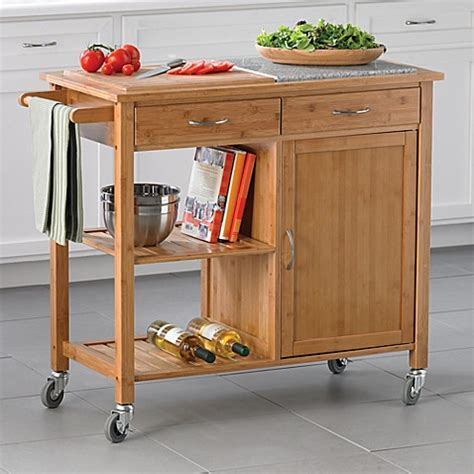 rolling kitchen islands linon home bamboo rolling kitchen island bed bath beyond