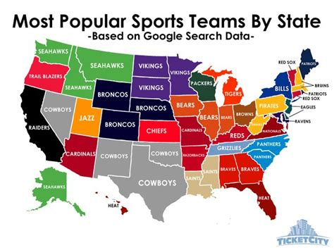 most popular teams by state per baseball