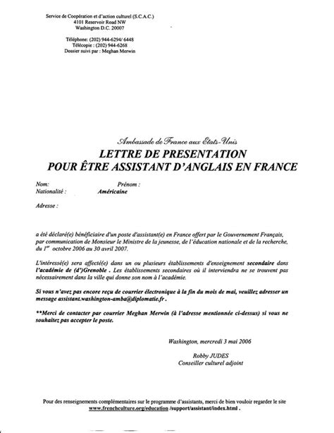 Presentation De Lettre En Française Tapif Documents And Links Tapif Guide