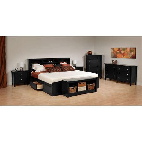 yaletown black queen  drawer platform storage bed