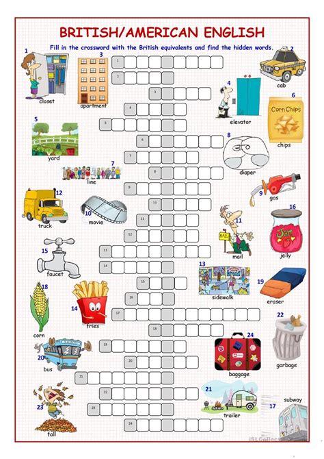 american crossword puzzle worksheet free