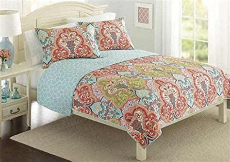 sham and comforter turquoise coral tropical beach quilt set