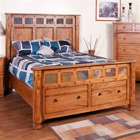 oak platform bed sedona wood platform storage bed in rustic oak humble abode