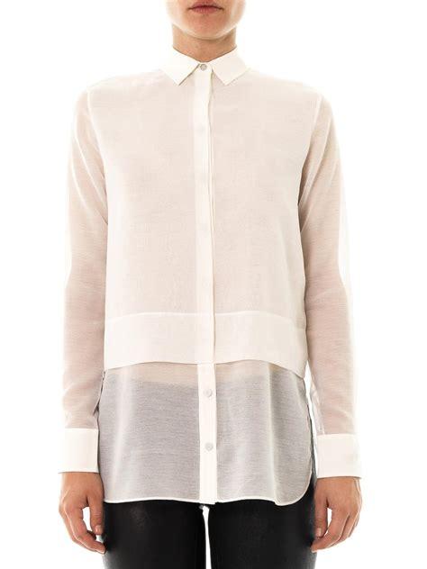 Layer Chiffon Shirt by Lyst T By Wang Layered Chiffon Shirt In White