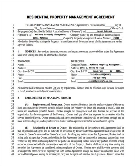 property management agreement 58 management agreement exles and sles