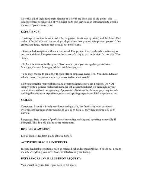 supervisor resume sle free career objective for restaurant manager 28 images