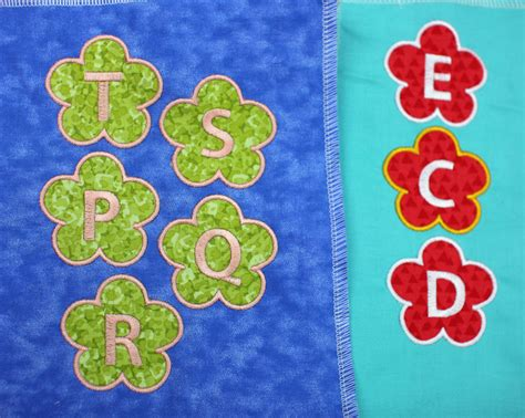flower applique flower applique with 26 alphabet letters embroidery design