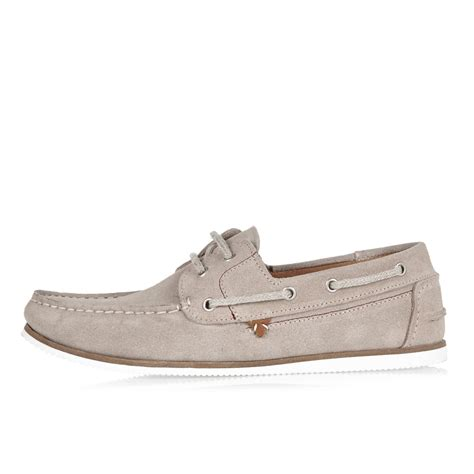 gray boat shoes river island grey suede boat shoes in gray for men lyst
