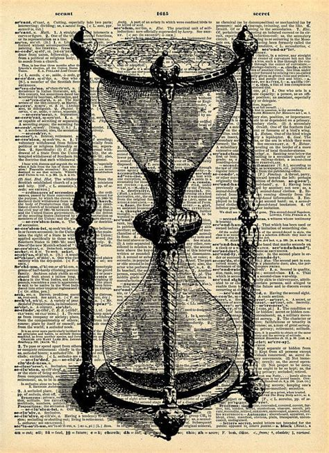 vintage old book print hour glass victorian print upcycled
