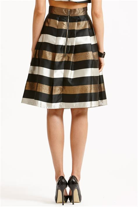 Black And White Line Skirt striped black white and bronze a line