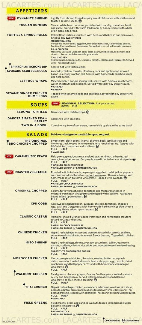 1 Of 6 Price Lists Menus California Pizza Kitchen 01 California Pizza Kitchen Menu Prices