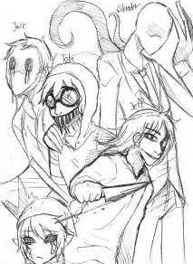 Creepypasta Family Coloring Page Sketch sketch template