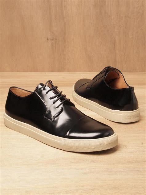 dries noten dries noten mens leather toe cap sneakers in black for lyst