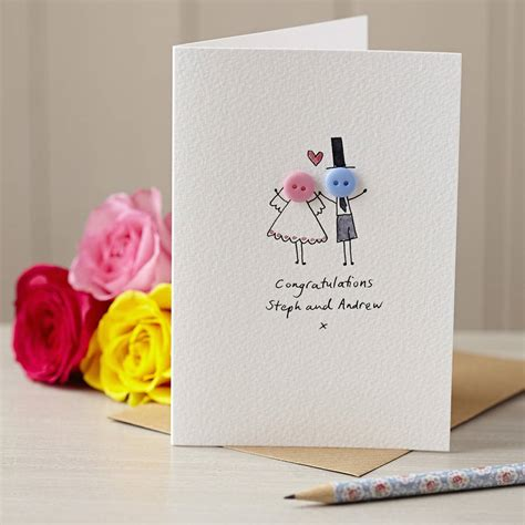 personalised wedding card personalised button wedding handmade card by