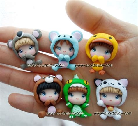1 cute chibi kawaii doll necklace made in italy by AlchemianShop, ?30.00   Clay   Pinterest