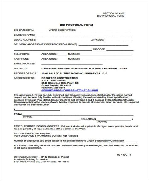 Proposal Form Templates Bid Form Template Free