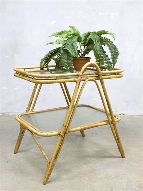 vintage bamboo side table vintage rotan tafel bijzettafel bamboo rattan coffee table