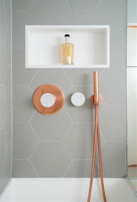 copper tiles bathroom 17 best ideas about hexagon tile bathroom on pinterest