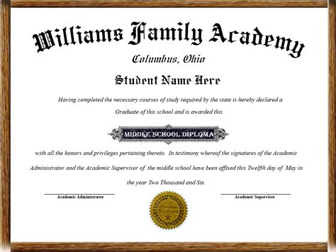 Home School Diplomas Elementary School Graduation Diploma Template
