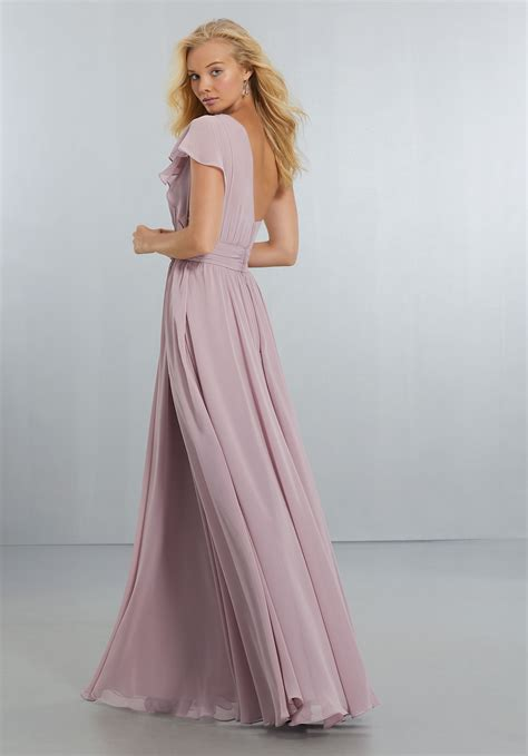 chiffon bridesmaids dress with one shoulder flounced