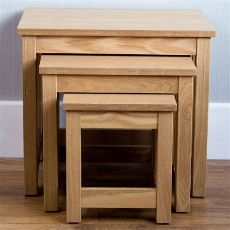 Ashton Nest Of 3 Tables Solid Wood Coffee Side L Living Solid Wood Living Room Tables
