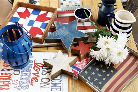 open shelving patriotic decor sugar bee crafts