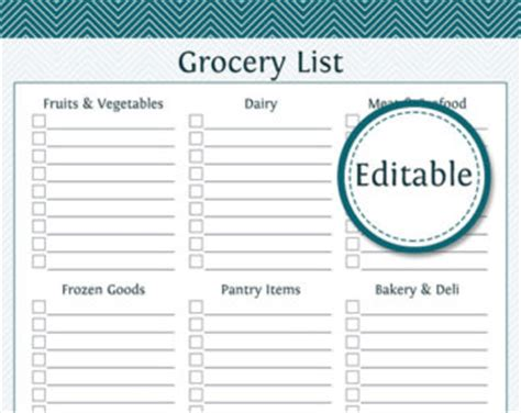shopping list template uk grocery list pdf etsy