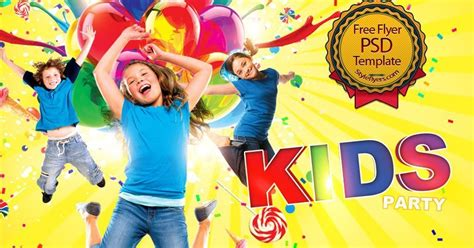 kids party free psd flyer template free download 10606
