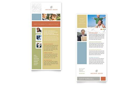 indesign rck card template investment advisor rack card template design