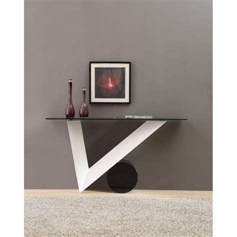 modrest bauhaus modern white and black console table by