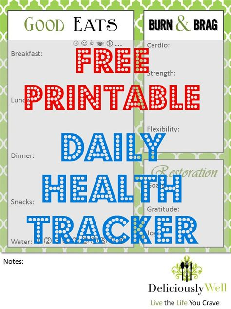 printable daily health journal daily health tracker deliciously well