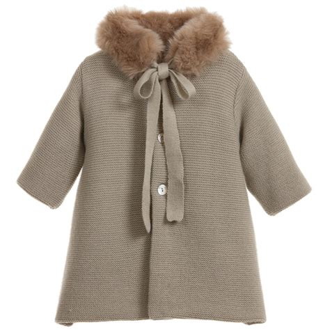 knitted coats for mebi beige knitted pram coat with fur collar childrensalon