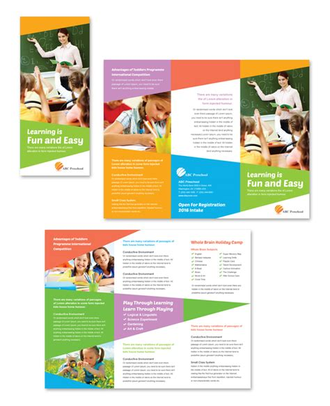 tri fold school brochure template preschool education tri fold brochure template