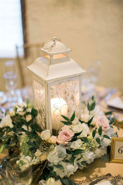 Elegant Blush Gold Illinois Wedding Floral Lanterns Wedding Centerpieces