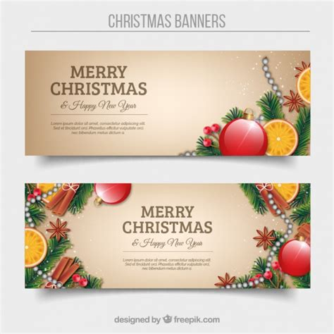 Happy Christmast 8 happy banners with ornaments vector free
