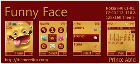 themes nokia x2 01 by princeabid funny face theme for nokia c1 01 c2 00 110 112 128