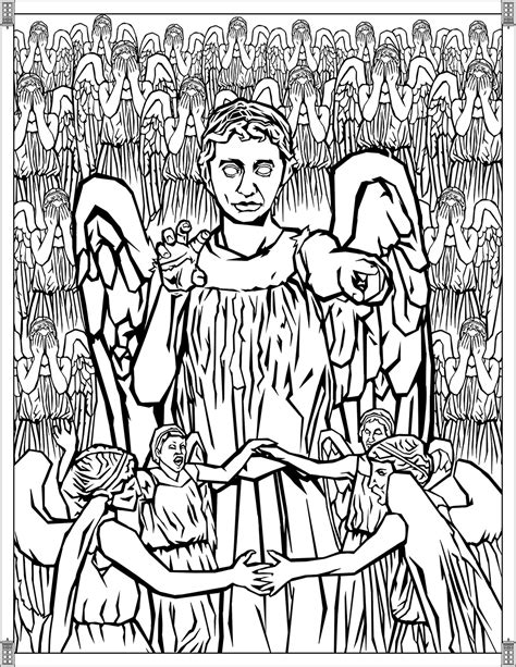 weeping angels coloring page doctor who coloring pages weeping angels tv shows