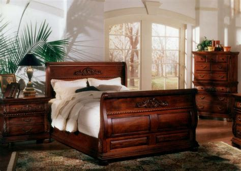pc king bed hand carved solid mahogany wood sleigh bedroom suite ebay