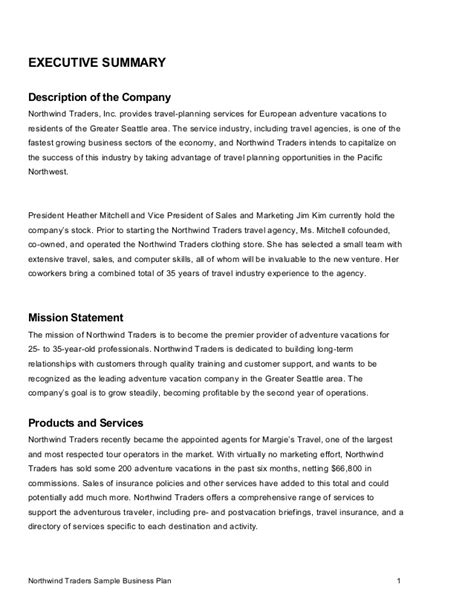 business narrative template sle business plan