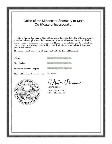 Minnesota Articles Incparadise Net Articles Of Incorporation Mn Template