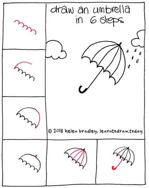 Drawing 6 Hours A Day by How To Draw An Umbrella In The In 6 Steps Learn To Draw