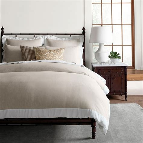 william sonoma bedding chambers italian washed linen border bedding flax sale