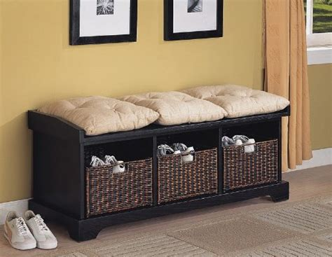 entryway bench with storage baskets cushions storage bench with cushion