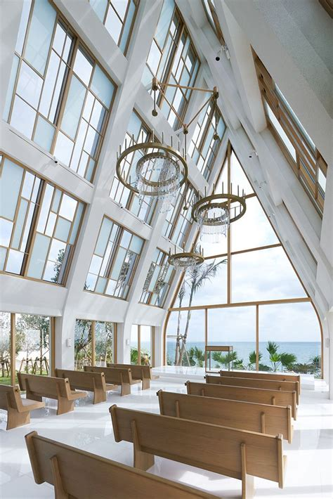 modern japanese chapel   beach   windows