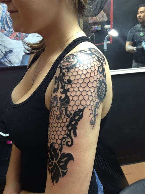lace hand tattoo my lace half sleeve done by hung he did it all by