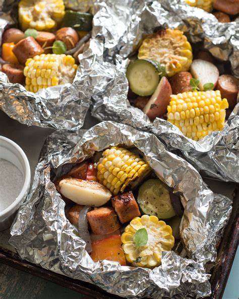 grilled sausage and vegetable foil packets bless this mess