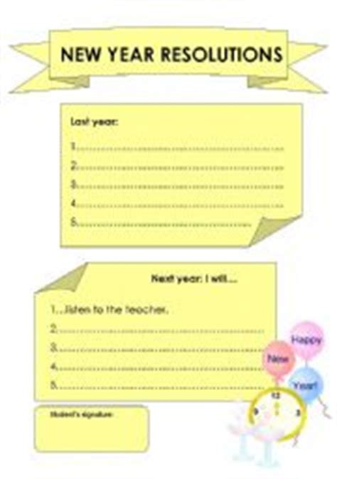 new year activities for esl students new years resolution worksheet bluegreenish
