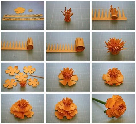 Paper Craft Work Tutorial - 12 step by step diy papers made flower craft ideas for