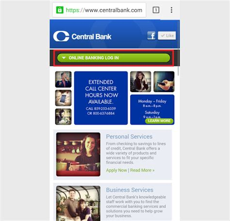 login mobile website central bank banking sign in login