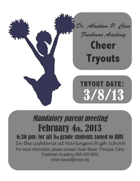 Hcisd 187 Hhs And Dr Abraham P Cano Freshman Academy To Host Cheer Tryouts Free Cheerleading Tryout Flyer Template